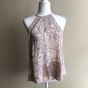 Leith Size M pink floral halter camisole top